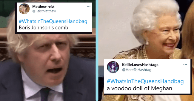 People On Twitter Speculate What The Queen Of England Must Be Carrying In Her Hand Bag| thumbnail text - Matthew reist @ReistMatthew #WhatsInTheQueensHandbag Boris Johnson's comb KellieLovesHashtags @HereToHashtag ... #WhatsInTheQueensHandbag a voodoo doll of Meghan
