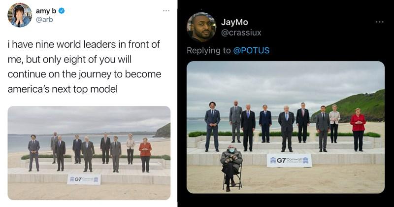 boris johnson, justin trudeau, emmanuel macron, angela merkel, mario draghi, yoshihide suga, joe biden, ursula von der leyen, g7 summit, memes, funny memes, politics, economics, twitter memes, political memes, avengers