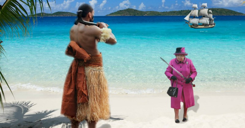queen of england meets a fiji native photoshops