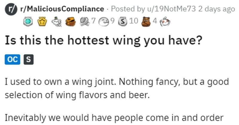 funny story of special wing sauce for people who want hotter sauce