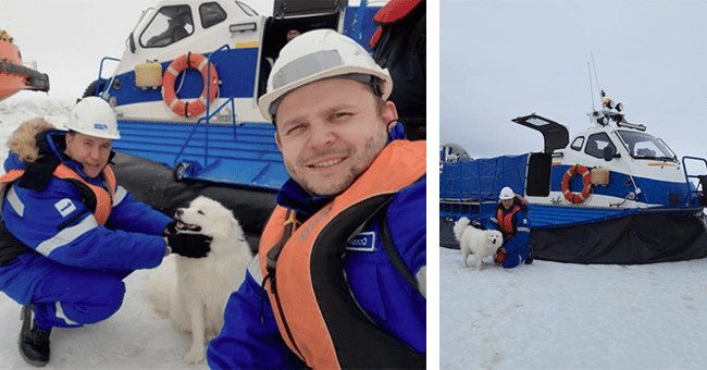 12 video and images of aika and samoyed dogs | thumbnail left aika dog selfie with two crew members, thumbnail right aika with crew member in front of boat