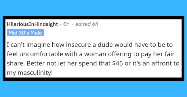 """should men pay on the first date 