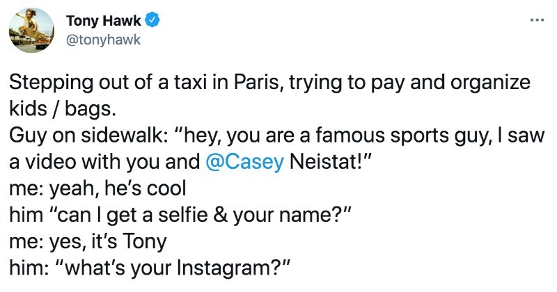 A collection of funny moments from Tony Hawk on Twitter.