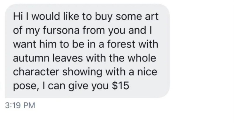 A choosing beggar tries to haggle over an artist's reasonable pricing, gets rejected, and then turns mean.