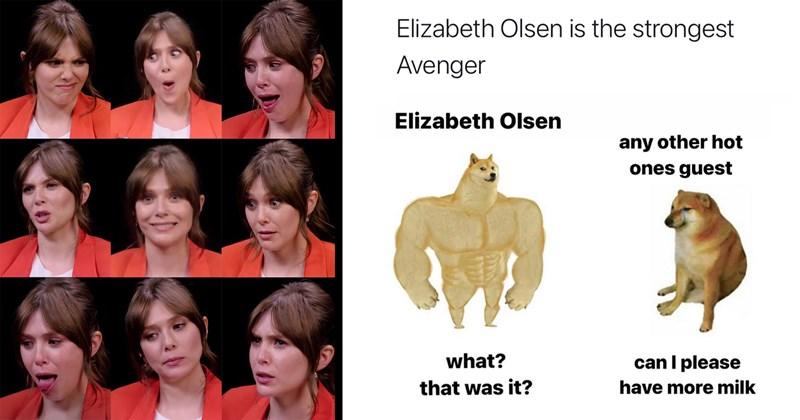 elizabeth olsen, wanda vision, wanda memes, avengers, marvel, twitter memes, memes, funny, hot ones, youtube, sean evans, spicy, hot sauce