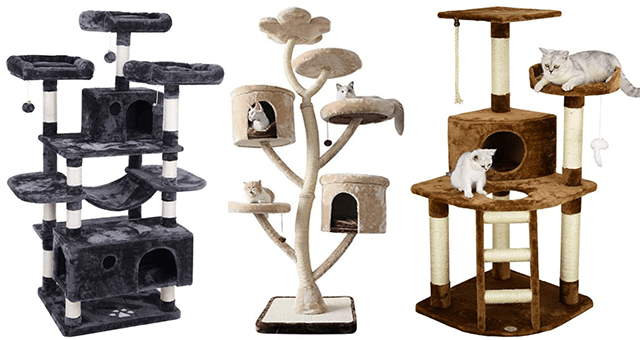 collection of the best cat tress to get on Amazon | thumbnail includes three pictures of cat trees and scratchers