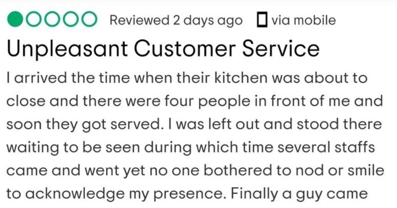 An entitled customer shows up when the restaurant's already closed, and then proceeds to leave a bad review.