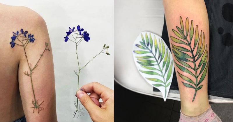 plants realistic tattoo tattoos flowers pretty - 1462533