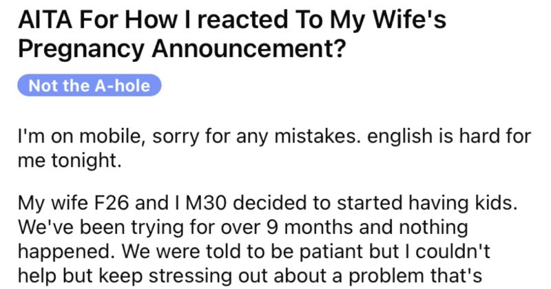 Wife announces her pregnancy and then her husband assumes that it's a joke.
