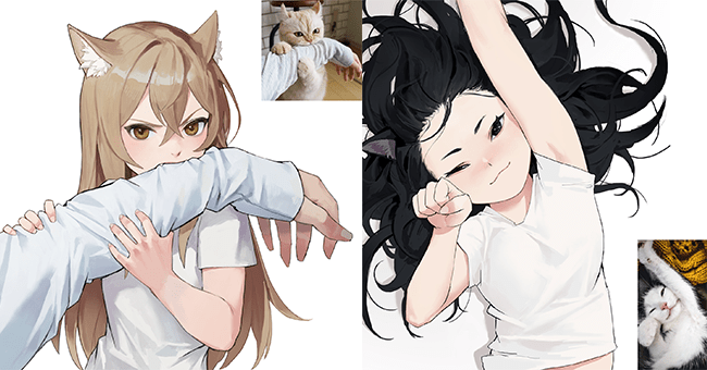 10 twitter images, anime women and cats | thumbnail left anime girl and cat, thumbnail right anime girl and cat
