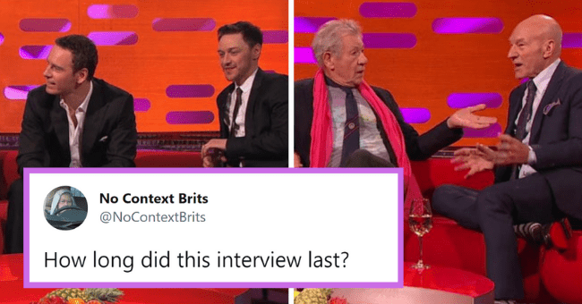 British Tweets That Are Equal Parts Silly And Bloody Clever  thumbnail text - No Context Brits @NoContextBrits How long did this interview last?