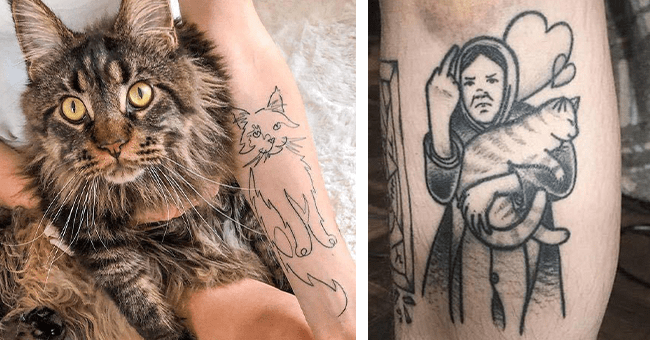21 images of cat tattoos | thumbnail left cat tattoo and cat inspiration, thumbnail right tattoo of lady with middle finger up holding cat