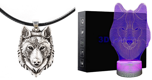collection of wolf-themed gifts to get on Amazon | thumbnail includes two pictures including a 3D wolf night light and a wolf necklace
