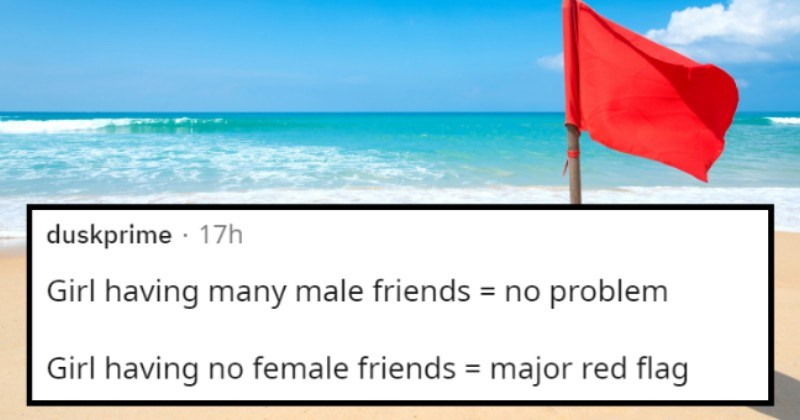 The cool girl | thumbnail text - 17h Girl having many male friends = no problem Girl having no female friends = major red flag