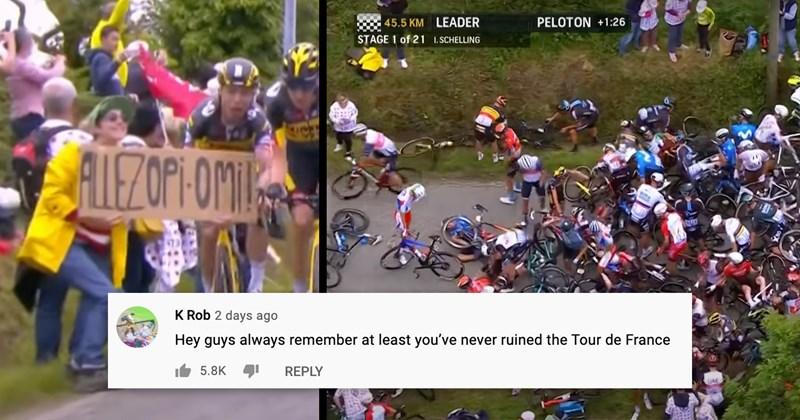 tour de france, sports, accident, stupid people, idiots, facepalm, tour de france crash, pileup, cycling, embarrassing, trending videos, youtube, videos, roast, funny comments