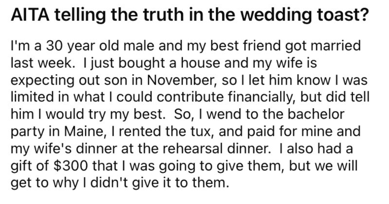 Best man decides to roast the bridezilla during a scathing wedding toast.