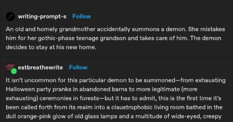 Wholesome tumblr story about a demon accidentally summoned by a grandma