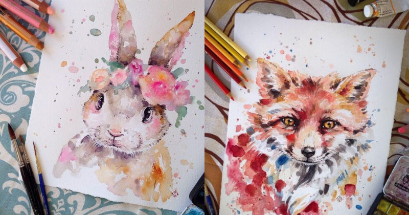 art artist watercolor colorful painting animals - 1469445