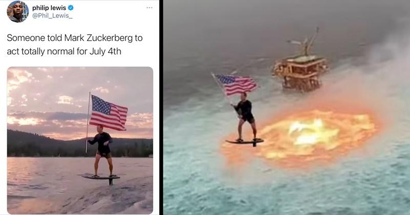 mark zuckerberg memes, mark zuckerberg, funny memes, viral memes, trending memes, fourth of july, hydrofoil, hover glide, facebook, twitter memes, funny tweets, roast