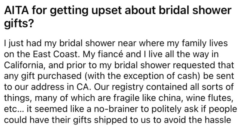 Bride asks wedding guests to ship gifts to her new house, guests disregard bride's request.