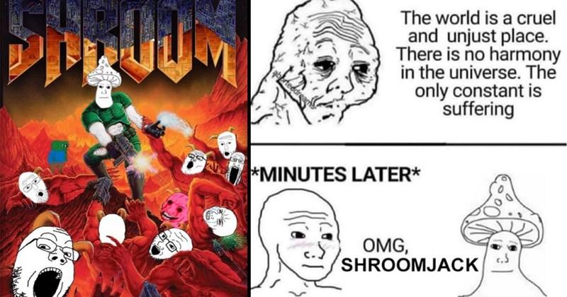 shroomjak, wojak, memes, viral memes, funny memes, shitposting, 4chan, mushrooms, mushroom wojak, dank memes, twitter memes, instagram, social media, internet culture, nsfw