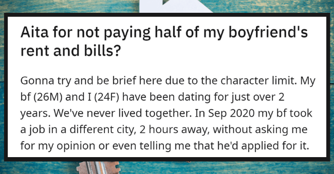Cheap Guy Demands That His GF Pays Half Of His Rent When She Comes To Visit| thumbnail text - Posted by u/Minimum-Pattern-7834 13 hours ago 3 5 36 Aita for not paying half of my boyfriend's rent and bills?