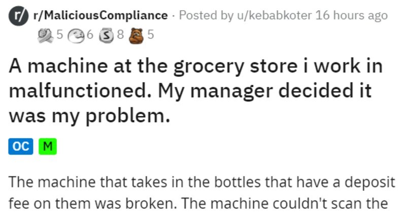 stupid manager tells unqualified employee to fix bottle deposit machine