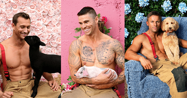 20 images of firefighters posing with cute animals | thumbnail three images of men posing with animals