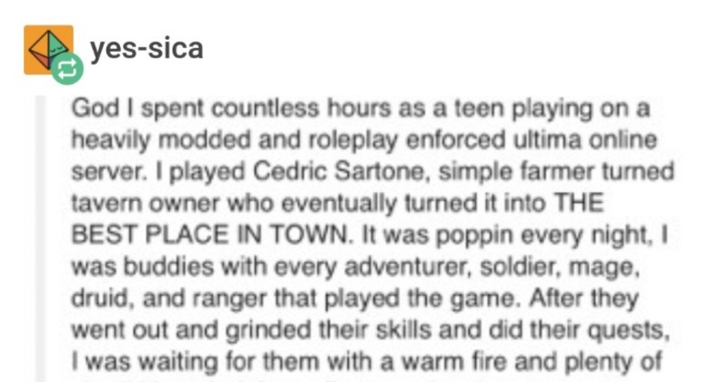A funny Tumblr post about a barkeep character in Ultima Online unleashing a nuclear revenge.
