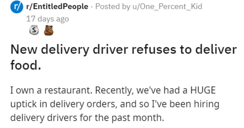 vegan employee refuses to deliver food with meat in it