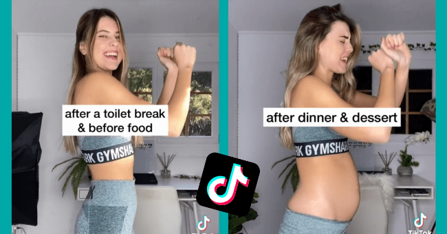 TIktok Influencer Normalizes Bloating By Showing How Her Body Changes Over A Day| thumbnail text - more reminders like this on my IG: breeelenehan after a toilet break & before food RK GYMSHA Tik Tok @ breelenehan