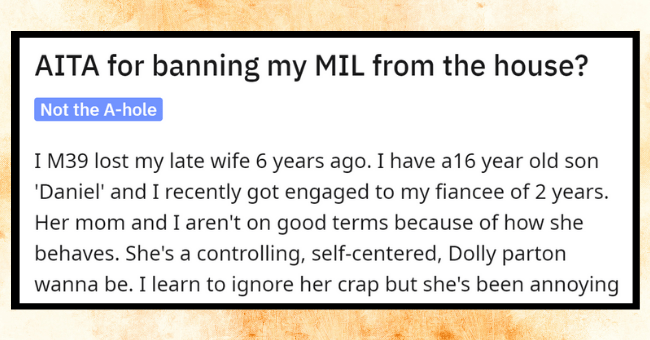 Nightmare Mother-In-Law Steals Grandsons Journal To Prove He's 'Anti-Social'| thumbnail text - Posted by u/Throwaway3765565 19 hours ago O 54 53 3 56 64 AITA for banning my MIL from the house? Not the A-hole