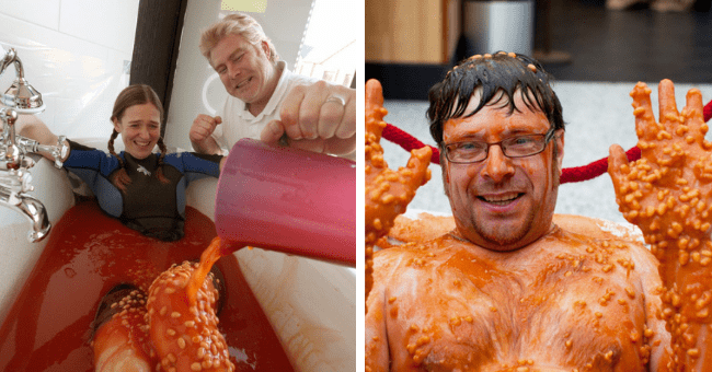 People Bathing In Baked Beans Because Apparently Bubble Baths Aren't Cool Anymore | thumbnail two images of people bathing in baked beans