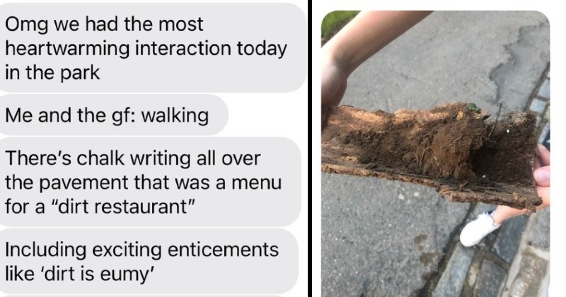 text exchange about wholesome dirt restaurant story