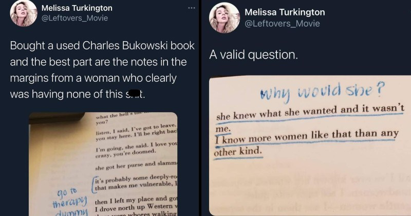 Twitter thread of annotates Bukowski from woman who's not putting up with it