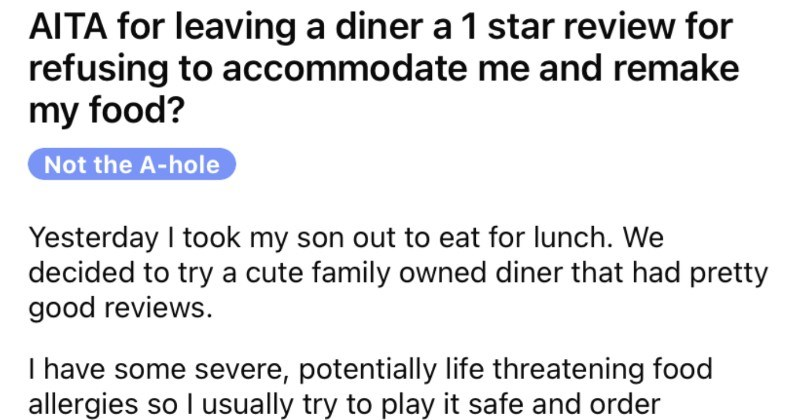 A restaurant fails to be accommodating when presented with customer's food allergies.
