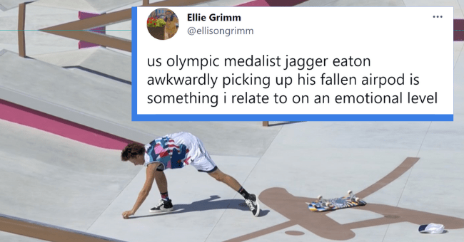 Funniest Tweets About The 2021 Tokyo Olympic Games So Far| Thumbnail text - Ellie Grimm @ellisongrimm us olympic medalist jagger eaton awkwardly picking up his fallen airpod is something i relate to on an emotional level