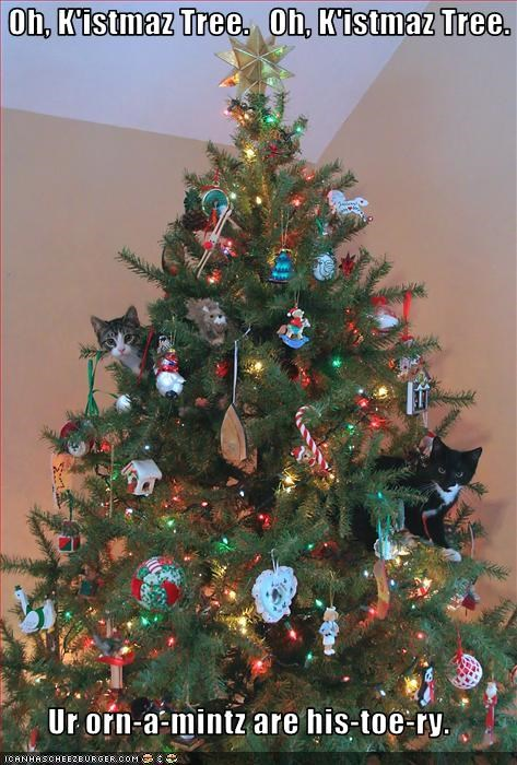 christmas,cute,destruction,holiday lols 2010,kitten,lolcats,lolkittehs,ornaments,tree