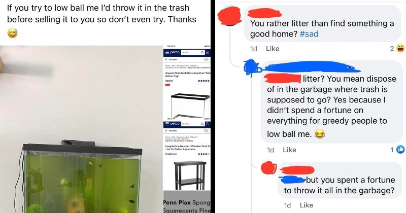 wtf fish Karen would rather throw fish in trash than give them away