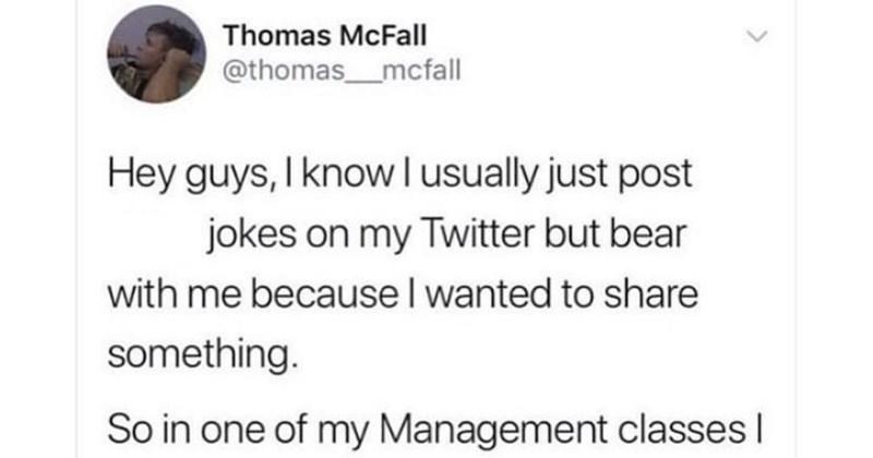 A Twitter thread about a guy making an assumption about his classmate always saving him a desk.