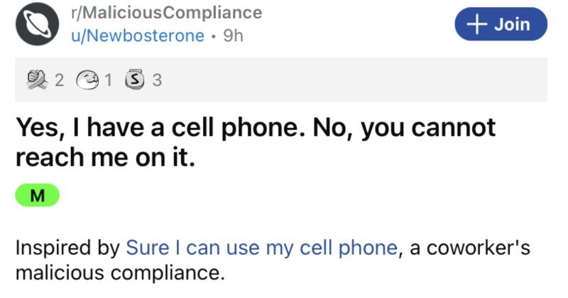 A company stops reimbursing their employees for cellphones, so a coworker makes sure that they regret it.