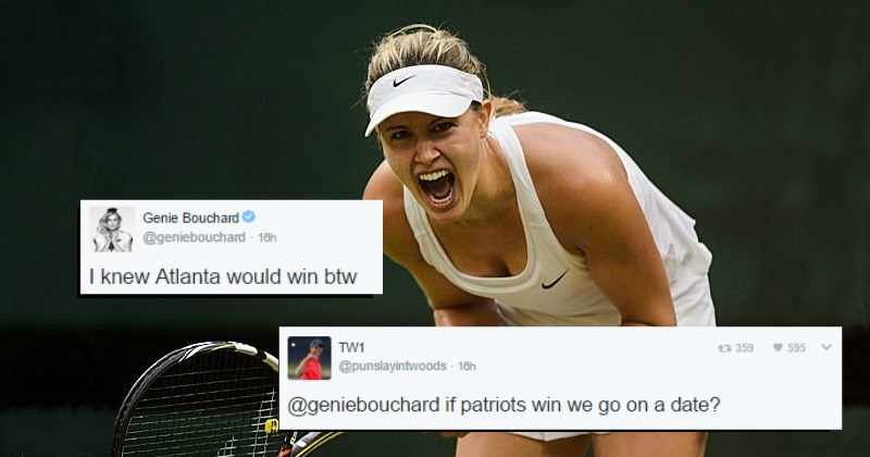 tennis player Genie Bouchard promises someone a date