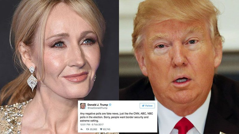 J.K. Rowling and Ricky Gervais Teamed Up for a Sass-Packed Twitter Throwdown After Donald Trump's Fake News Tweet