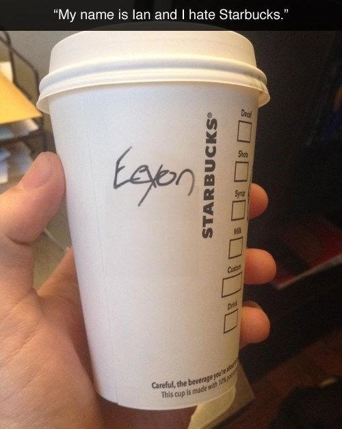 baristas spelling Starbucks ian names starbucks cups - 150277