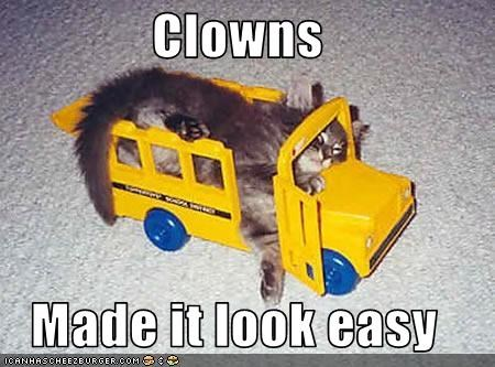 clowns cute kitten lolcats lolkittehs stuck truck - 1544855296
