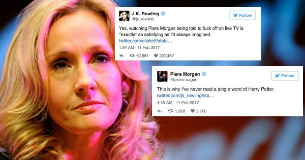 j.k. rowling feuding with piers morgan on twitter