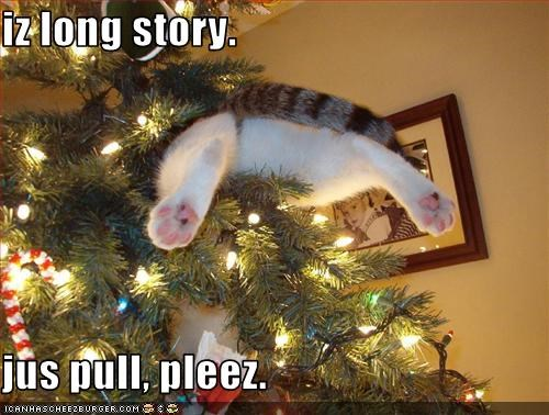 christmas halp lolcats story stuck tree - 1549500160