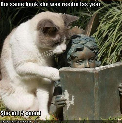book lolcats reading smart statue - 1565807360