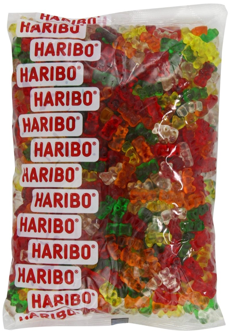 Bag of Haribo Sugarless Gummy Bears - Cover for list of Amazon reviews.
