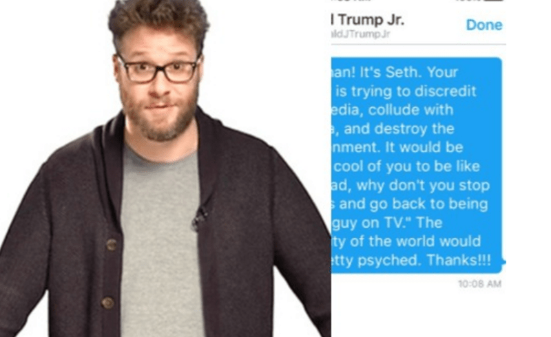 seth rogan messages donald trump
